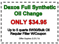 34.95 synthetic oil change