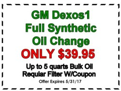 GM Dexos1 Oil change special