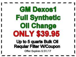 GM Dexos1 Oil change special